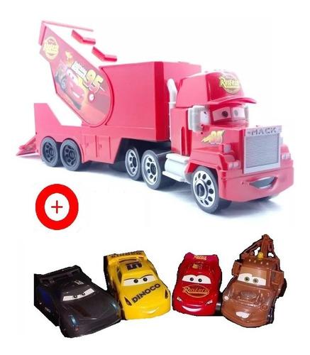Cars Camion Mula Mack + 4 Carros Rayo Macqueen Mate Cruz Ajd