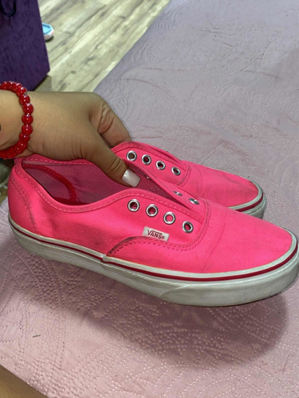 Vans Classic Authentic Super Neon Hot Pink Ane White Women