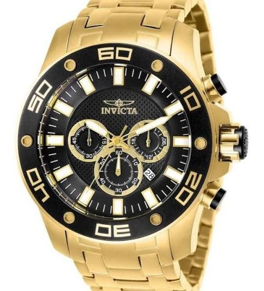 Relógio Invicta Masculino 26076 Banhado A Ouro 18k