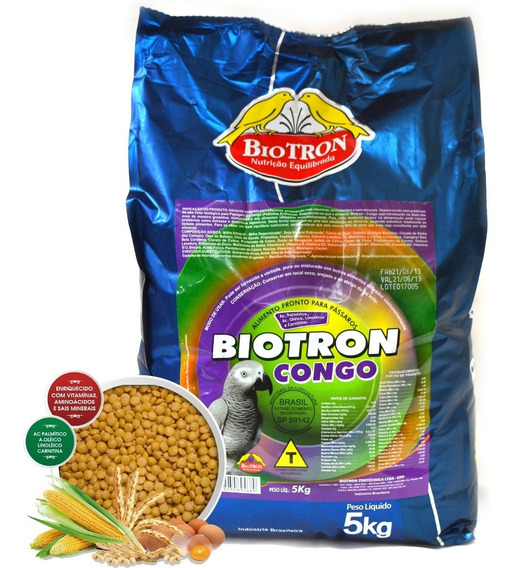 Biotron Ração Extrusada Papagaio Do Congo - 5kg