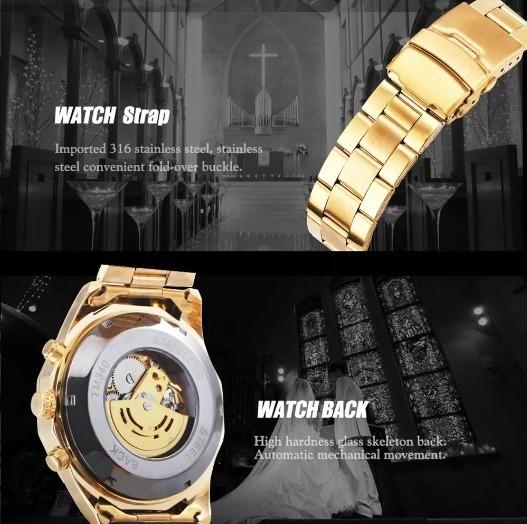 Relógio Esqueleto Mecânico Automático Relógio De Ouro Top!!