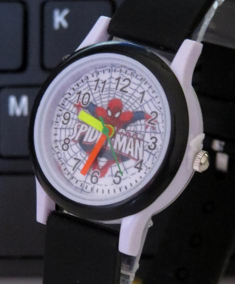 Relógio Infantil Do Homem Aranha Preto Lindo Oferta C305