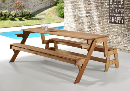 Kit Banco Vira Mesa + 02 Conj. De Mesas E Cadeiras Dobraveis