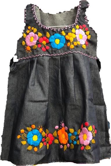 Vestidos De Mezclilla Bordado A Mano, Niña. Talla. 2 A La 10