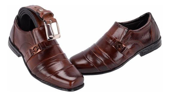 Sapato Social Infantil Couro Legítimo - Kit Com Cinto Barato