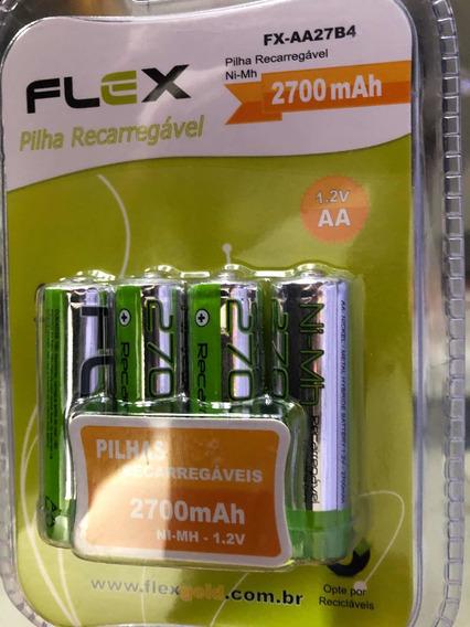 Pilha Flex Recarregáveis 2700mah Aa 1,2 V Blister Com 4