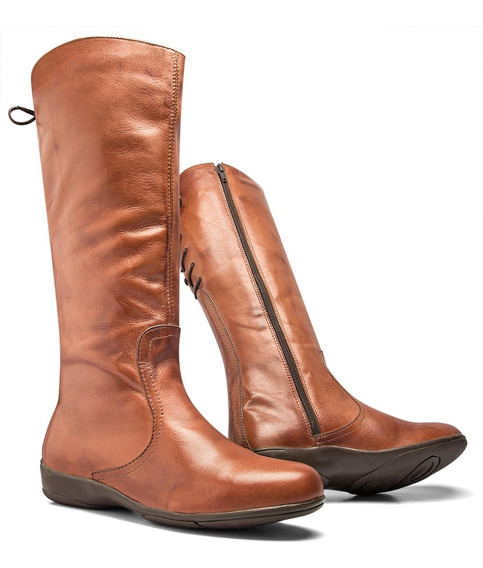 Bota Montaria Feminina Texana Cano Alto Country Couro Nobre