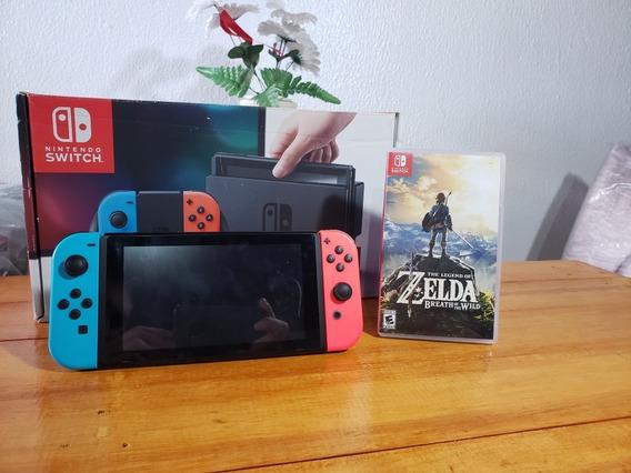 Nintendo Switch Neon Usado E Conta Nintendo Com 14 Jogo