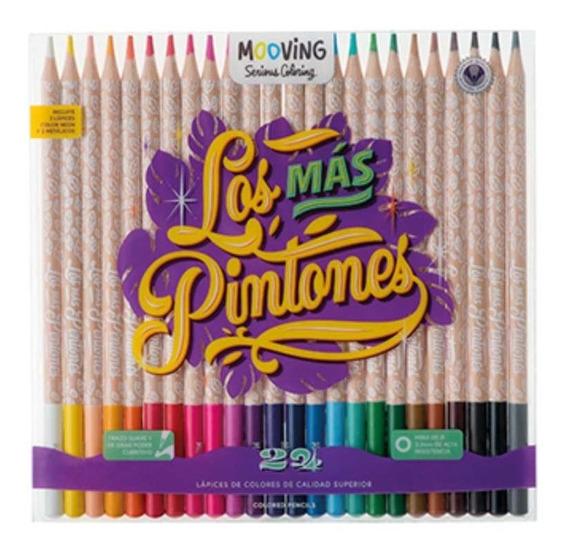 Lapices De Colores Pinturitas Mooving Coloring X 24 Unidades