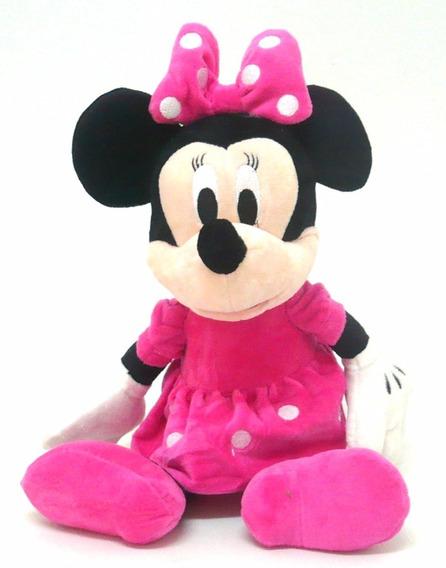 Boneca De Pelúcia Minnie Rosa Sentada Musical -mickey Mouse