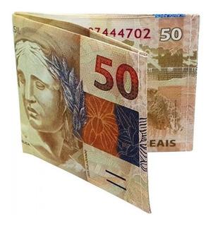 Carteira 50 Reais Guardar Notas Cédulas Dinheiro