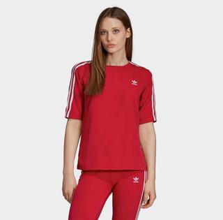 Camiseta 3 Stripes adidas Rosa Escuro