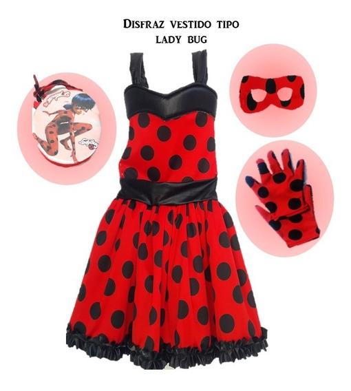 Disfras Tipo Lady Bug En Vestido