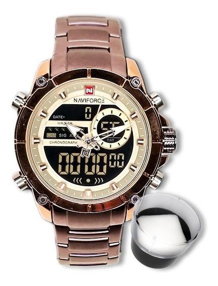 Relógio Masculino Naviforce Original Importado Bronze Luxo