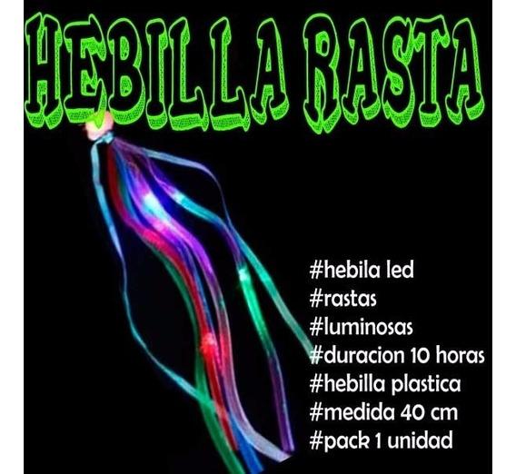Extension Hebilla Con Rastas Led Cotillon Luminoso Pelo