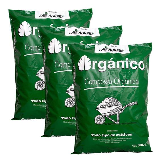 Tierra Negra Composta Orgánica Cultivo, 3 Bolsas De 30 Lts