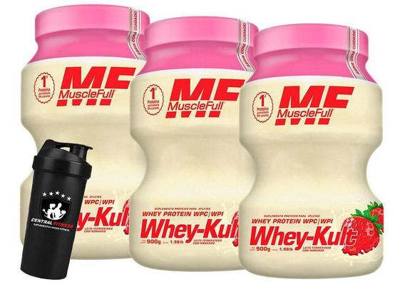 Kit 3x Whey Kult 900g Morango Muscle Full + Coqueteleira