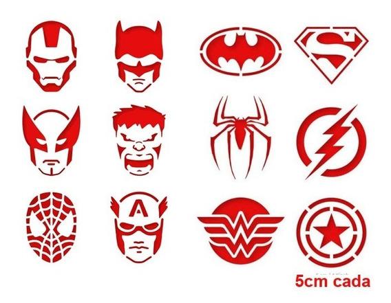 Stencil Molde Facial 12 Super Heróis 5 Cm - Frete Grátis