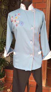Filipinas Chef Bordada Azul Celeste Talla Xxl