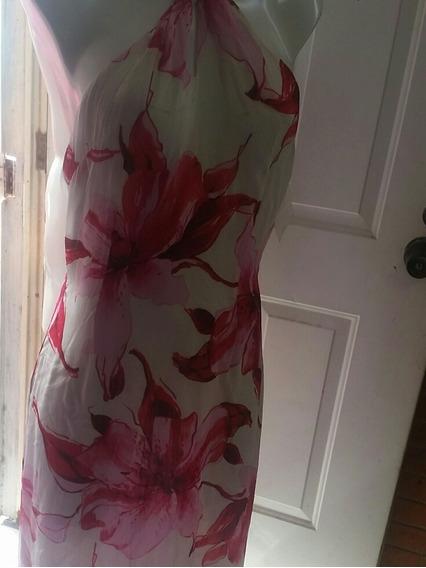 Vestido Nuevo/ Largo/ Marca Basel/ Talla 4 /blanco Con Rojo