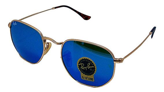 Óculos De Sol Hexagonal Retro Vintage Masculino Feminino Azul Espelhado Tamanho 51 M