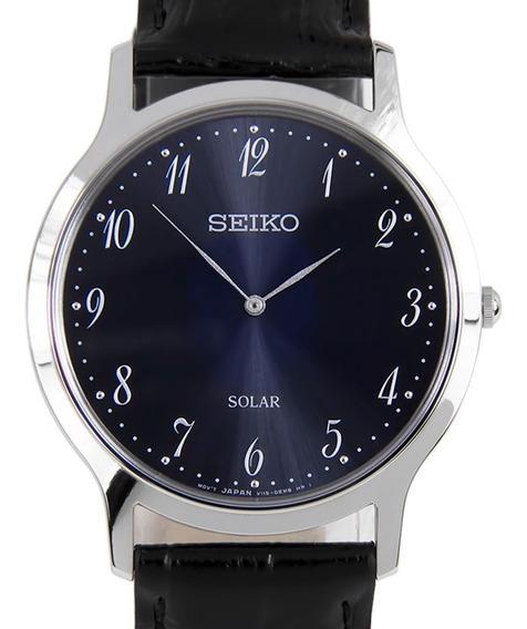 Reloj Hombre Seiko Sup861p1 Linea Solar Acero Con Piel