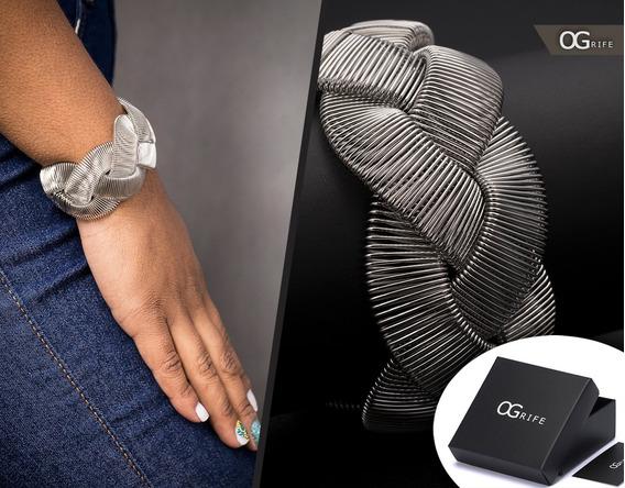 Pulseira Bracelete Feminino Aço Inox J-170 Moderna Estilosa
