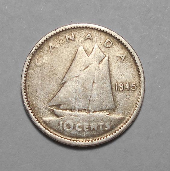Canada 10 Cents 1945 - George Vi - Km#34 - Moneda De Plata