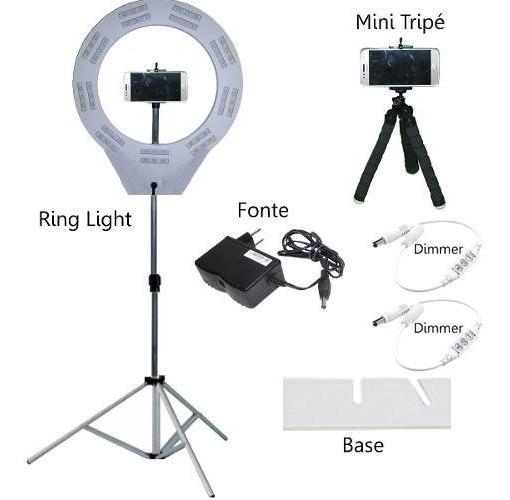 Ring Light+ Tripé Prende Camera Celular+ Dimer+ Mini Tripé