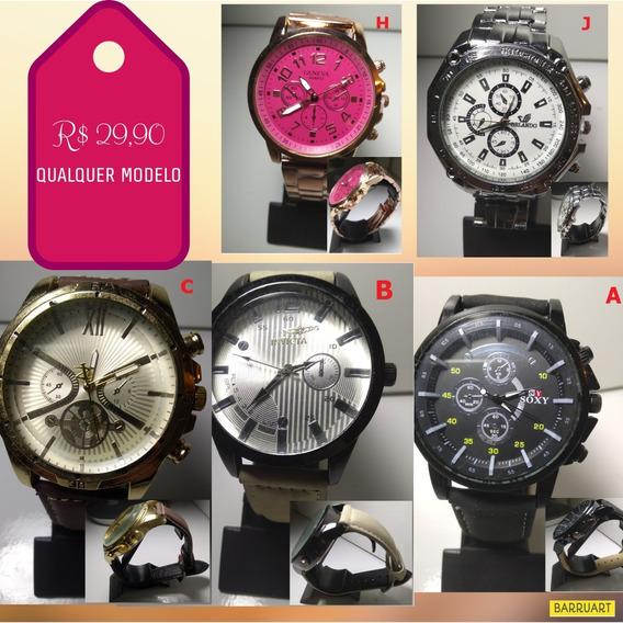 Relógios Pulso Fem/masc Promoção R$ 29,90 Qualquer Um