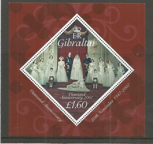 2007 Reina Elizabeth- Boda Real- Gibraltar (bloque) Mnh