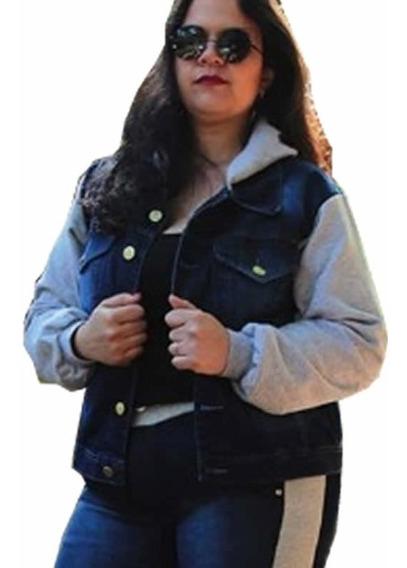 Jaqueta Feminina Jeans Com Moletom Plus Size 805c
