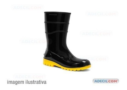 Bota Pvc Cano Curto Preto Com Solado Amarelo Nº 37
