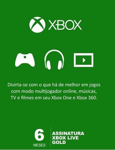 Imagem 1 de 1 de Xbox Live Gold 6 Meses Código Digital Oficial Brasil