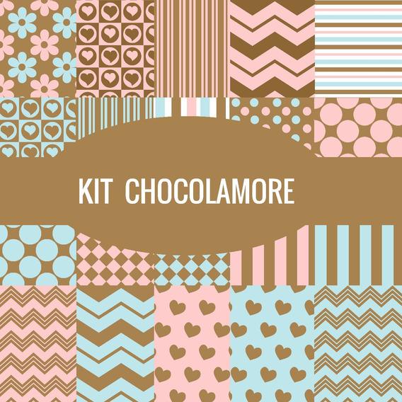 Kit Imprimible Pack Fondos Chocolate Rosado Azul 10 Clipart