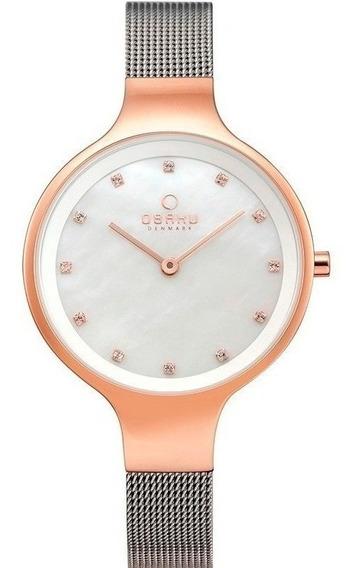 Reloj Obaku V173lxvwmc Plateado-oro Rosa Original Para Dama