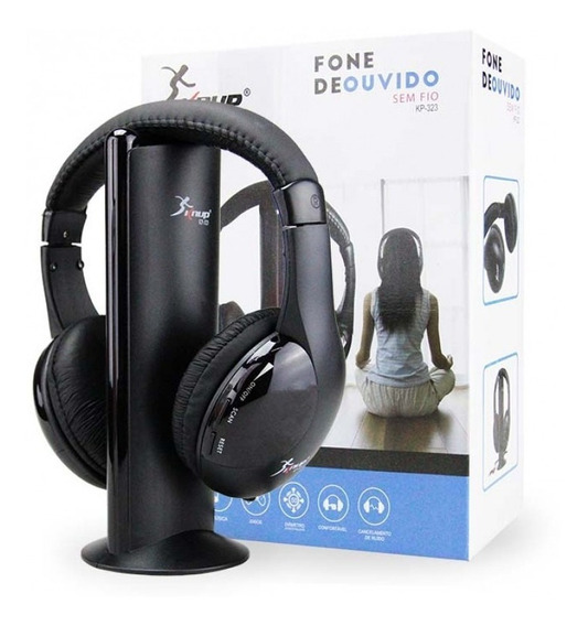 Fone De Ouvido Headphone 5 In 1 Sem Fio Wireless Tv Ps3 Fm