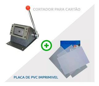 Kit Placa Pvc Imprimível P/ Crachá + Cortador Cartão De Pvc