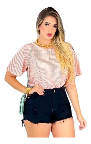 Imagem 1 de 3 de Shorts Jeans Preto Feminino Cintura Alta Desfiado St007