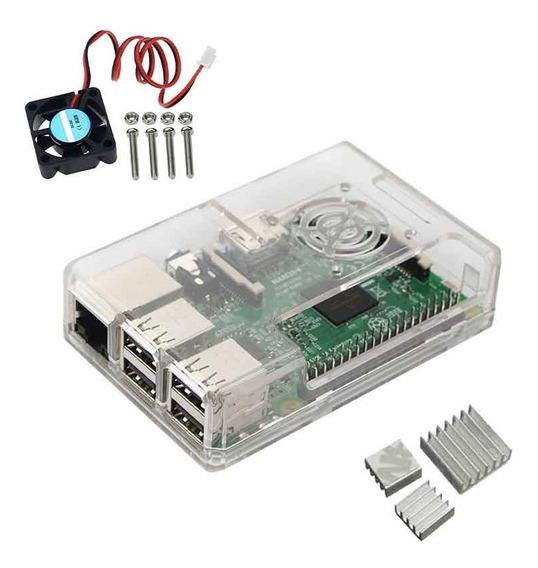 Kit Case Raspberry Model Pi 3 B Ou B+ + Cooler + Dissipadore