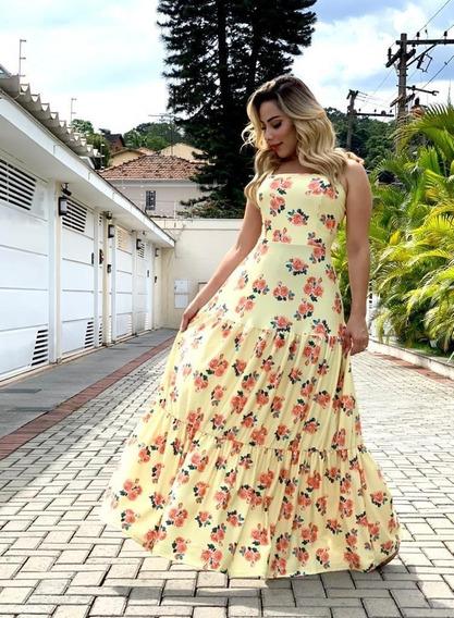 Vestido Longo Florido Veste Do P Ao Gg Primavera Verão Lindo