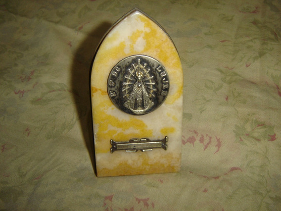 Antigua Imagen Religiosa Adorno De Mesa Marmol Y Bronce Ver