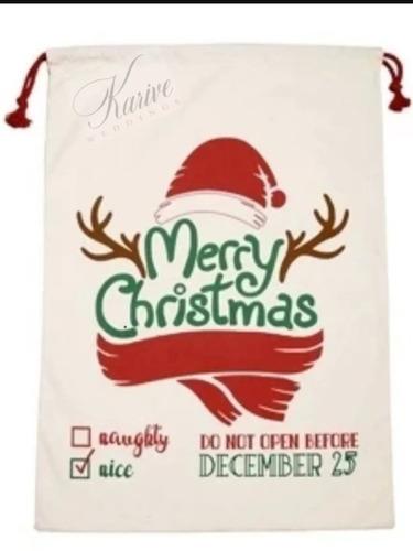 Imagen 1 de 6 de 2 Costal Navideño Santa Claus Bolsa Regalo Navidad 50x70cm