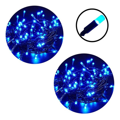 02 Pisca Pisca Luz 100 Lâmpadas Natal 8 Funções - Azul