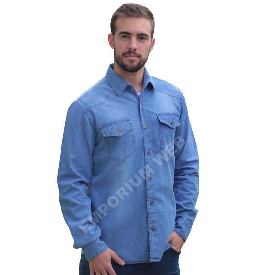 Camisa Jeans Masculina Manga Comprida Social Revenda Barato