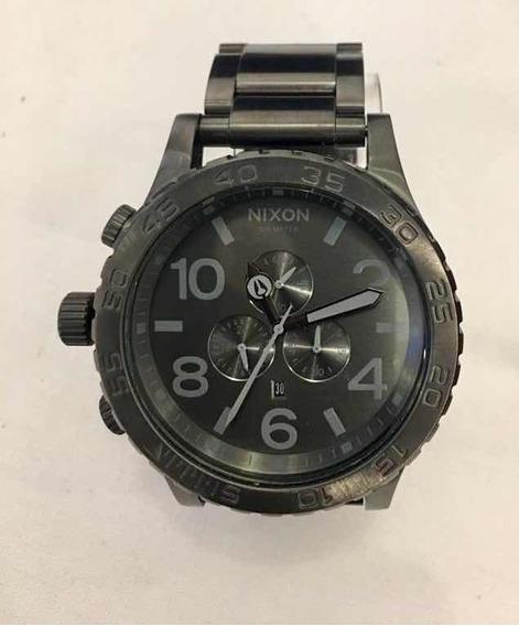Relógio Nixon All Black Silver Lum Original Novo