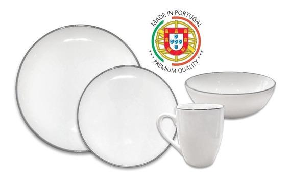 Juego De Vajilla Cerámica Pottery Hudson 16 Piezas Gris