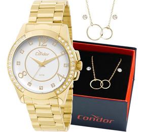 Kit Relógio Condor Feminino Com Colar E Brincos Co2036ch/k4k