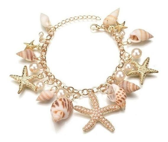 Pulseira De Conchas Dourada Estrela Do Mar Sereia