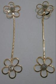 Brincos Feminino Pedra Zirconia Flor Folheado A Ouro